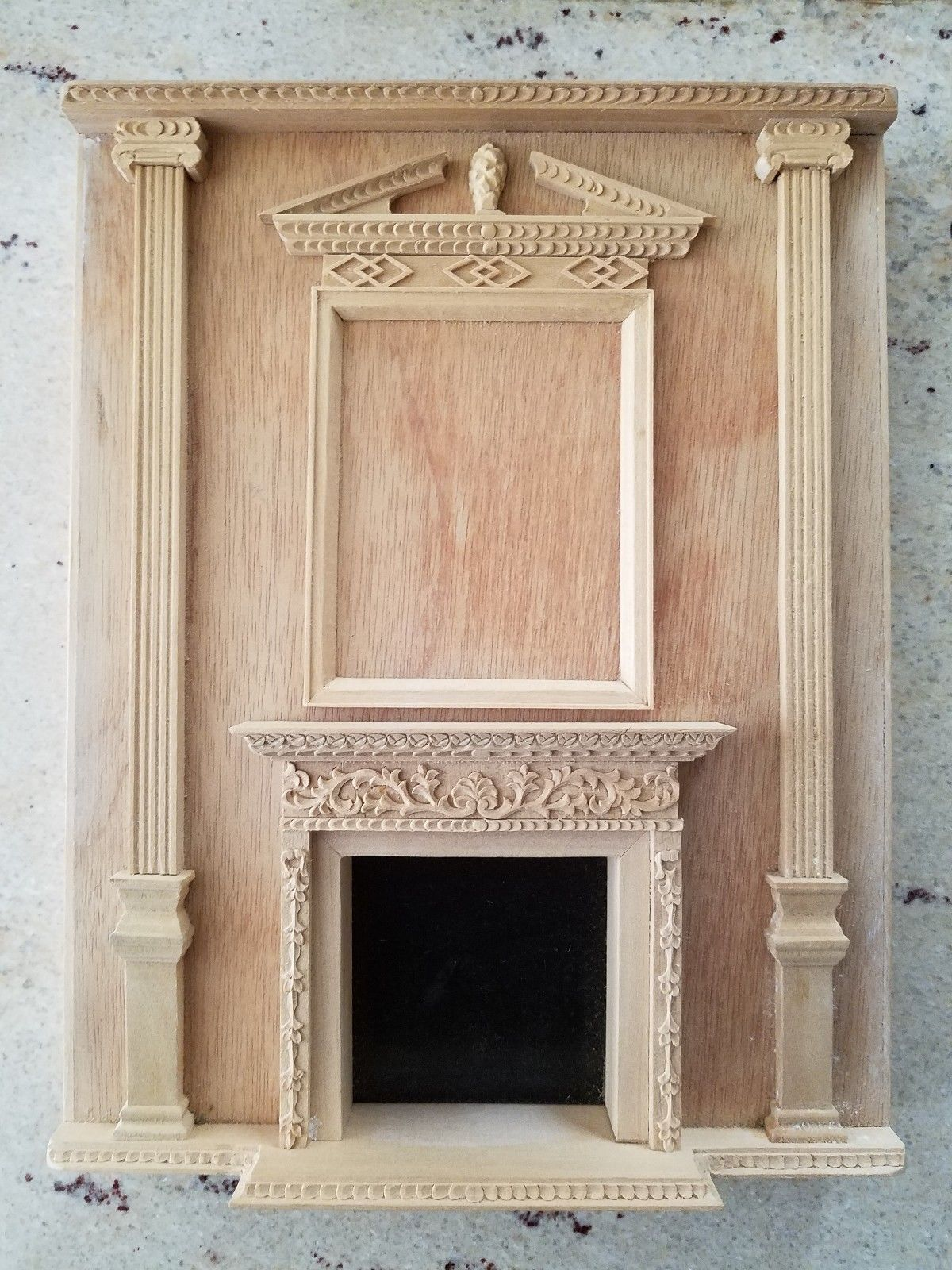 "Fireplace Manor unit Dollhouse miniature wall panel roombox 7.5/""W 1:12"