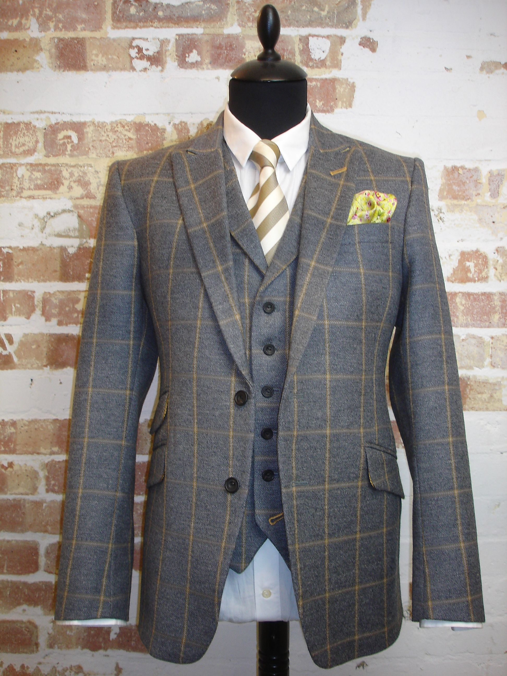 bbe1d883260 Grey and Yellow Check 3 Piece Tweed Suit