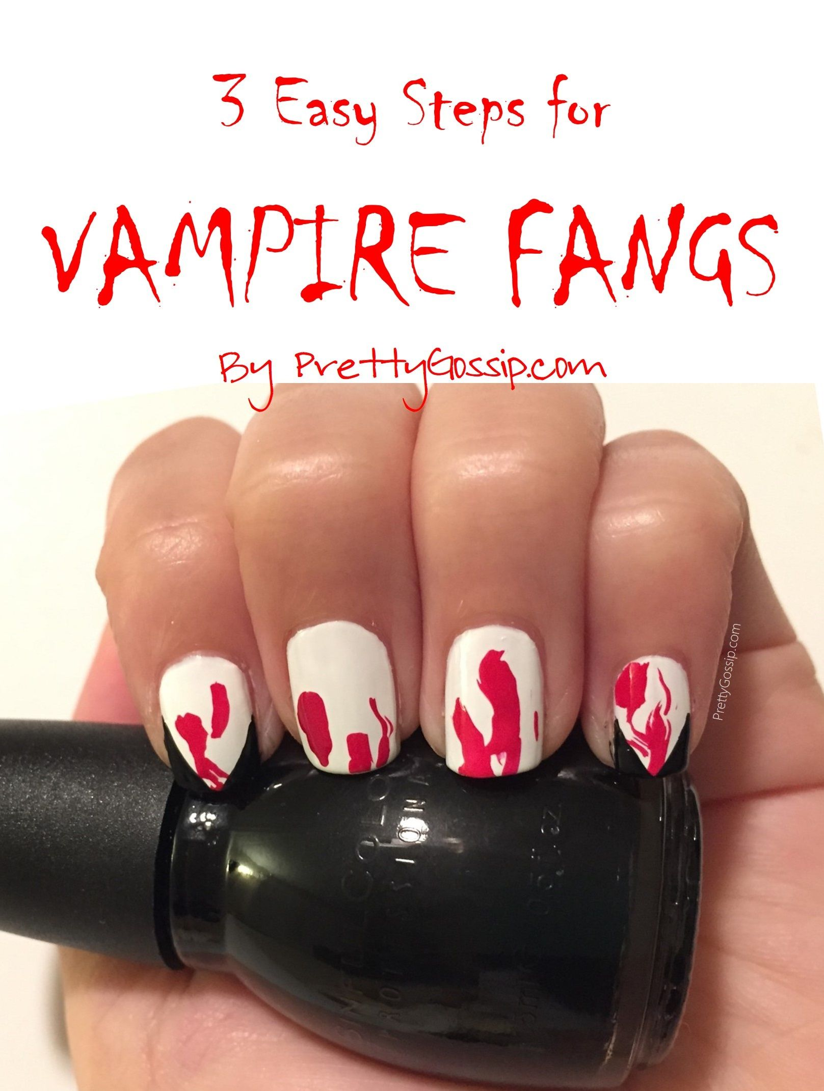 3 Step Vampire Nails Easy And Perfect For Halloween Halloween Nails Easy Halloween Nails Scary Nails