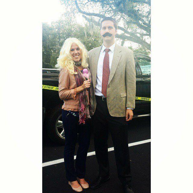Veronica Corningstone and Ron Burgundy From Anchorman Ron burgundy - creative couple halloween costume ideas