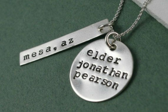 LDS Missionary Tag -Hand Stamped Sterling Silver Tag and Disc - Inspirational Jewelry - Mormon Elder Sister - LDS Inspired Neckace