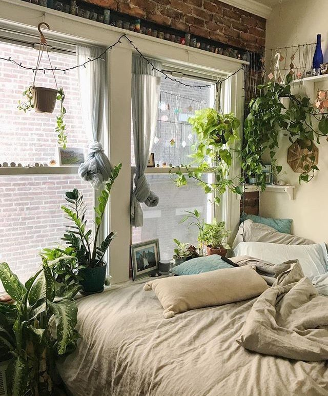 vintage bedroom ideas with plants love this cozy bedroom full of plants! | Indoor Gardening & House Plants | Aesthetic rooms, Home