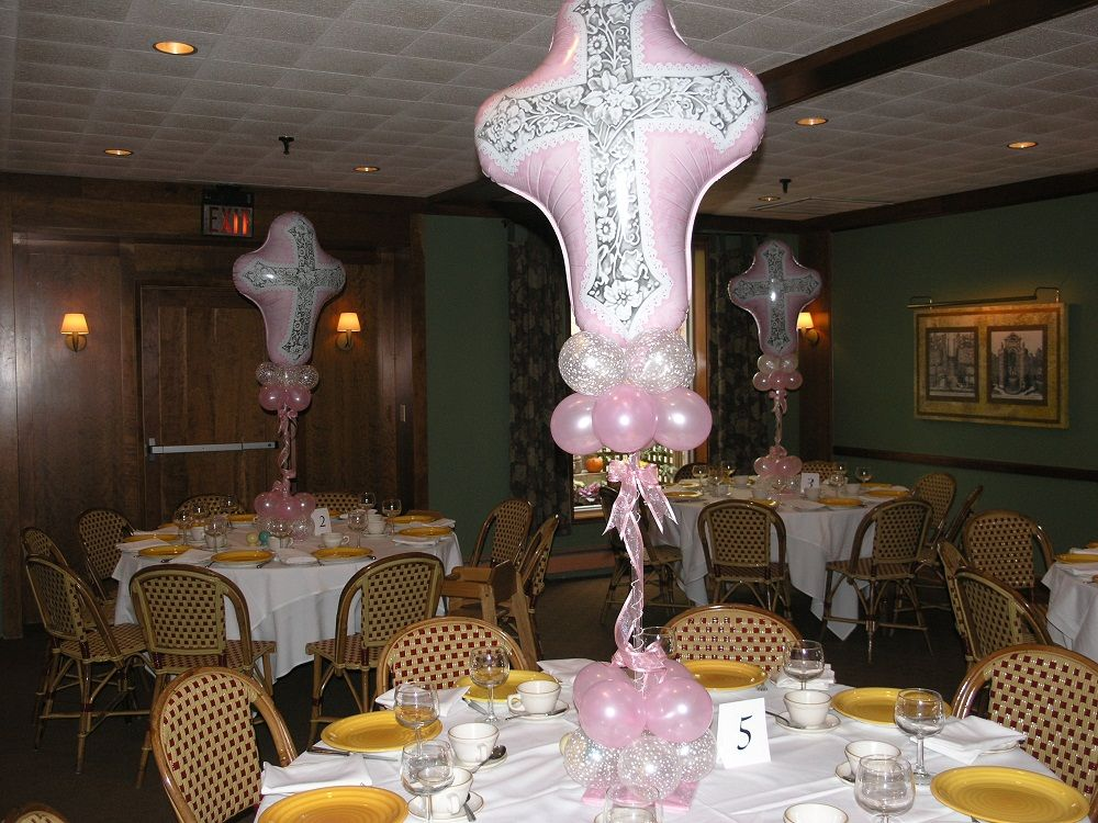 Baptism centerpieces for girls party rental miami for Balloon decoration for christening party