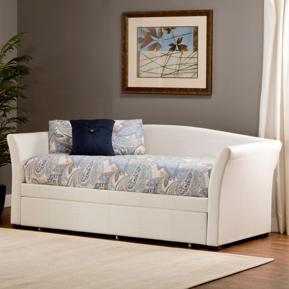 Montgomery Leather Daybed in White with RollOut Trundle