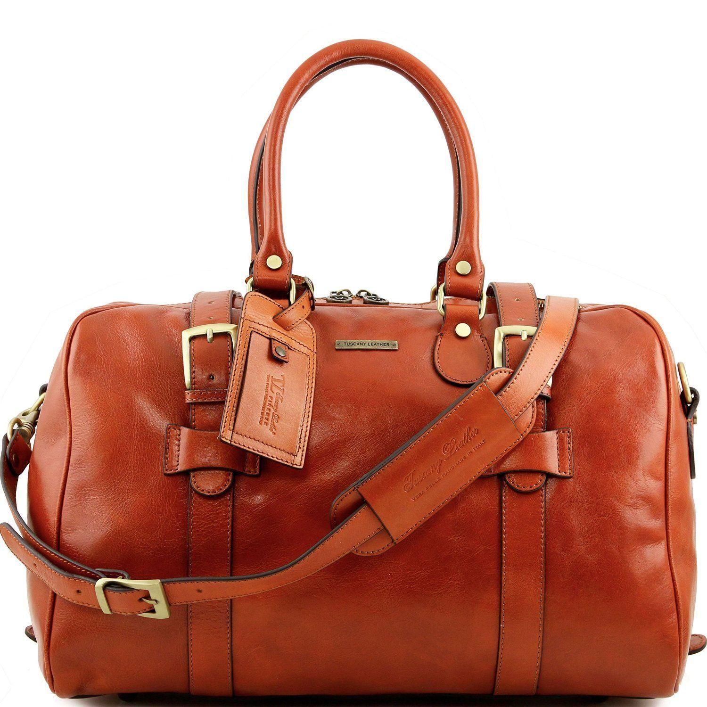 Tuscany Leather TL Voyager - Reisetasche aus Leder mit Schnallen - Klein Honig: Amazon.de: Luggage
