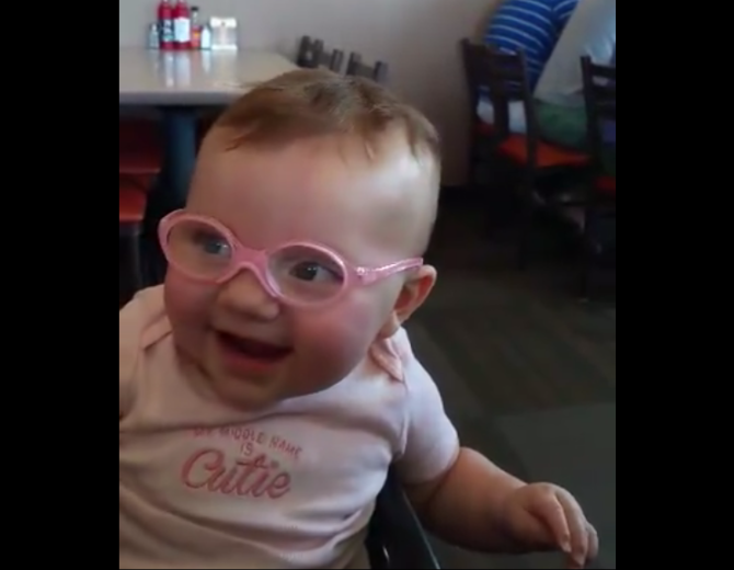 Too cute! Baby sees mom and dad clearly for the first time (VIDEO)