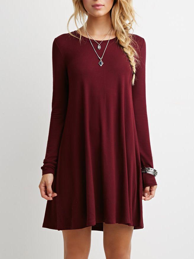 Burgundy Long Sleeve Casual Babydoll Dress Ropa Vestido Manga Larga Casual Moda