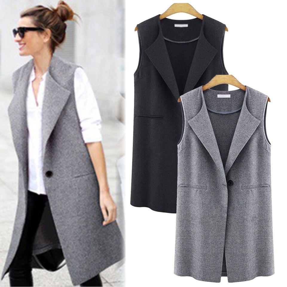 41de6a99f4e Women s Sleeveless Long Jacket One Button Pocket Waistcoat Gilets Vest  Coats New