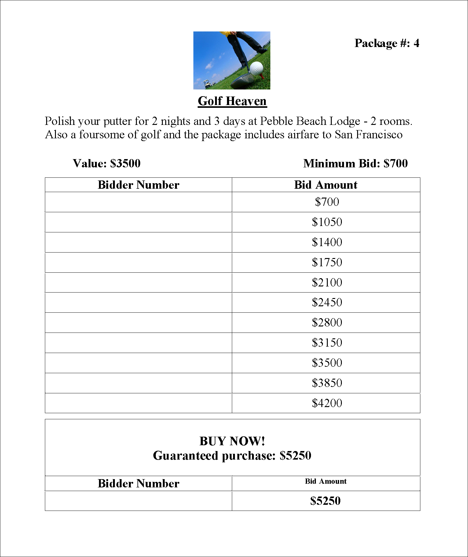 Bidsheet4 Out Of Greater Giving Software Just A Few Samples Of Bidsheet Templates