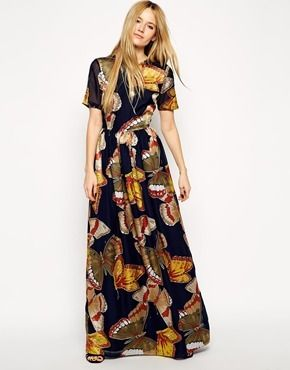 Asos Premium Maxi Dress with Gorgeous Butterflies - multi on shopstyle.com.au