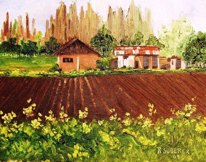 pintura de mis propias fotografías......... casas de campo tomadas de la autopista hacia el sur, Chile
