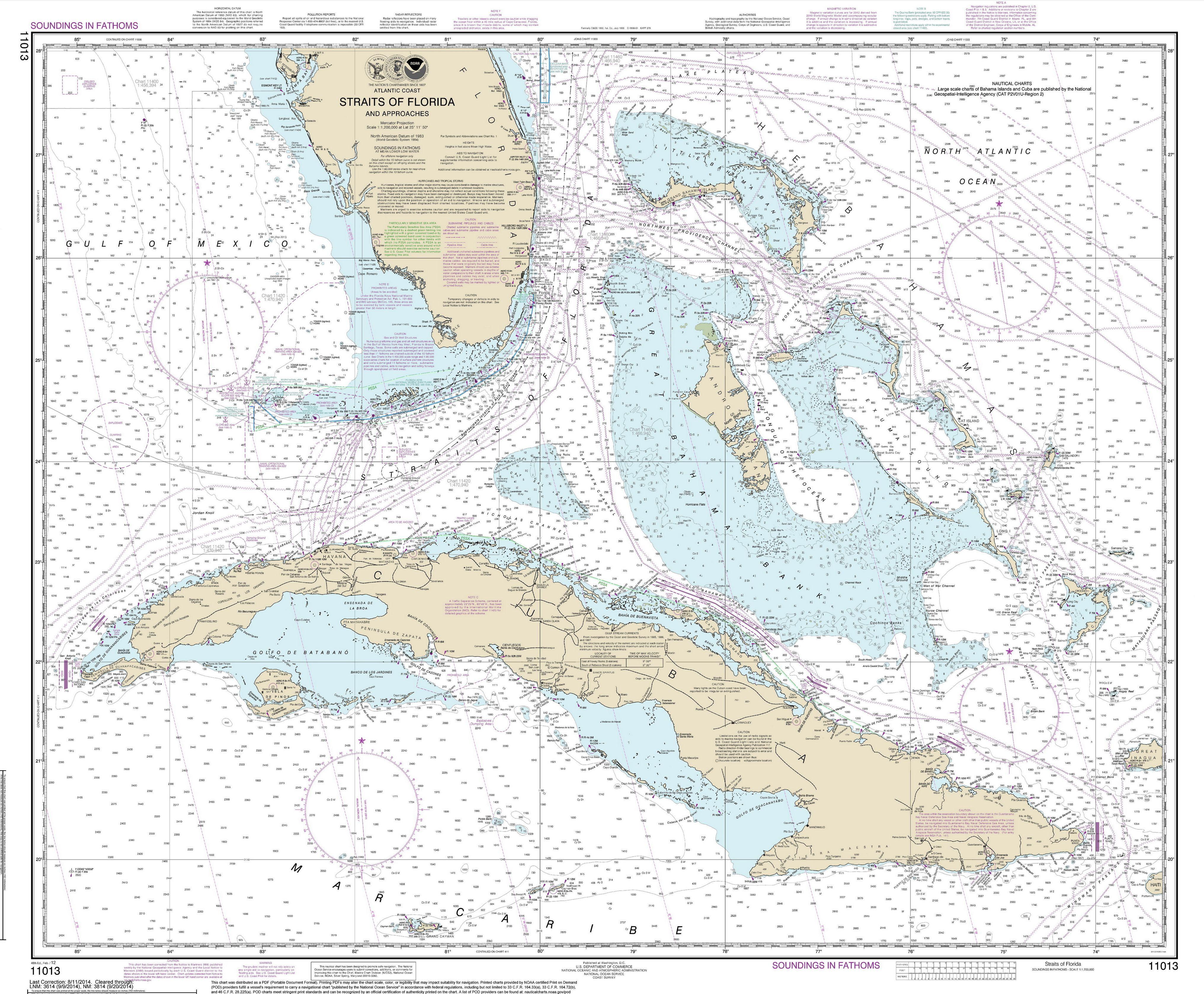 Modern Nautical Maps Of Florida 1 400 000 Scale Charts