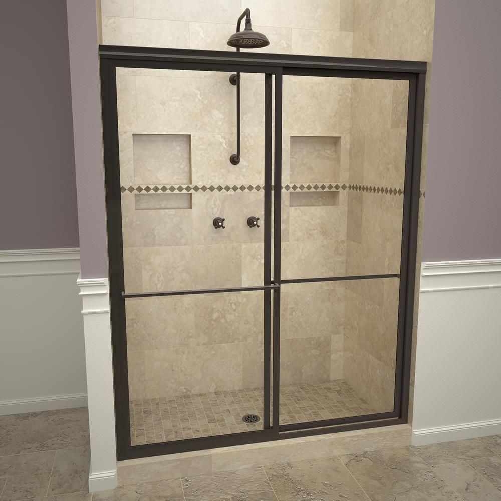 Redi Slide 1100 Series 59 In W X 71 1 2 In H Framed Sliding Shower Doors In Oil Rubbed Bronze With Towel Bars And Clear Glass Bathtub Doors Shower Doors Frameless Sliding Shower Doors