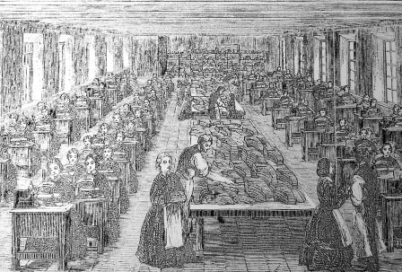 Clara worked in a clothing factory like this one, depicted in 1854. The heat and noise must have been overwhelming.