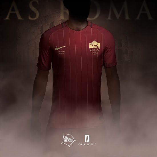 2b4ef055d37 Classy Nike AS Roma 17-18 90-Years Anniversary Concept Kits Revealed -  Footy Headlines