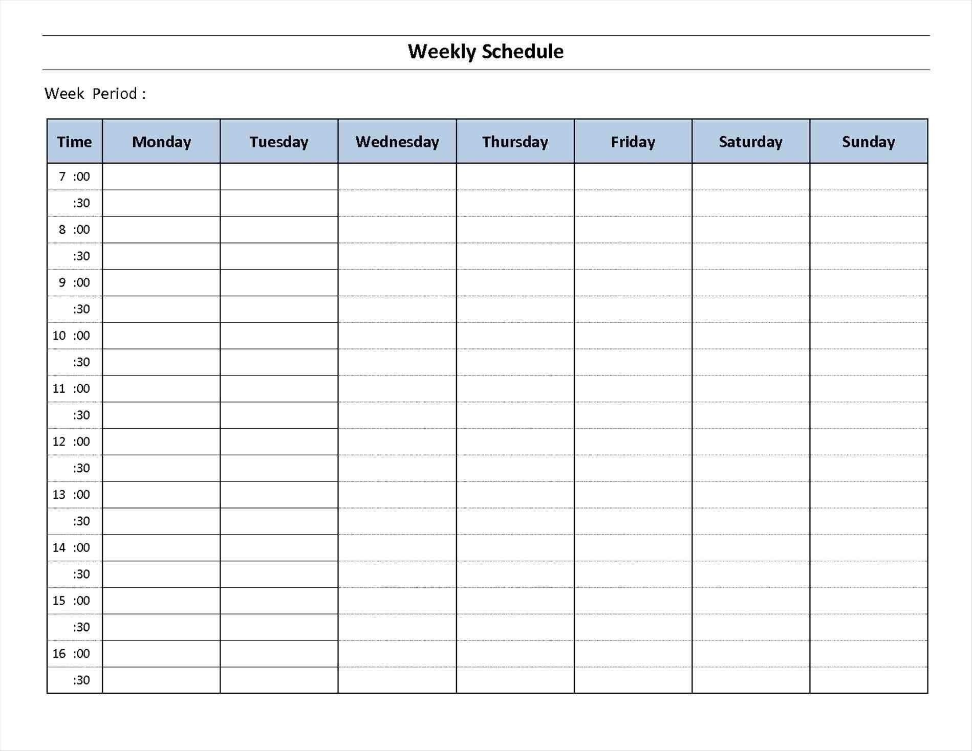 7 Day Hourly Calendar Template Weekly Schedule Template Excel Excel Calendar Template Weekly Planner Template Daily hourly planner template excel