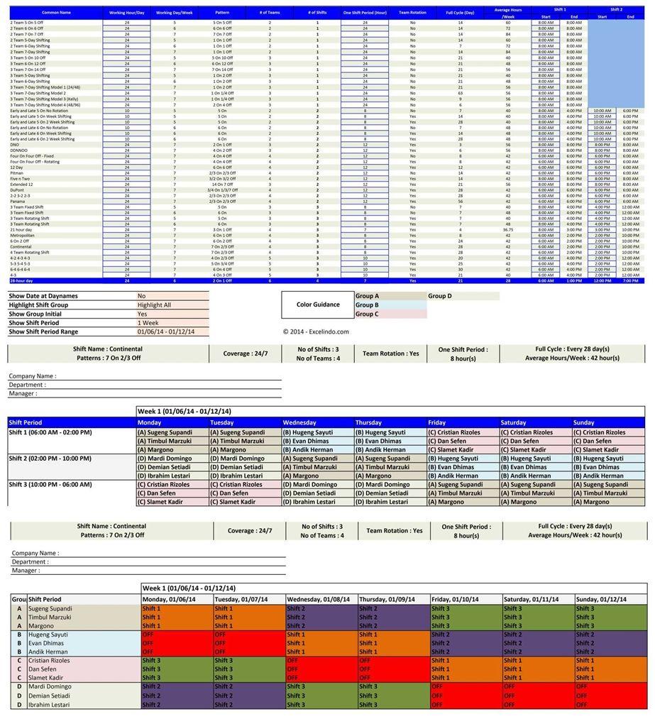 Employee Schedule Maker Schedule Template Shift Schedule