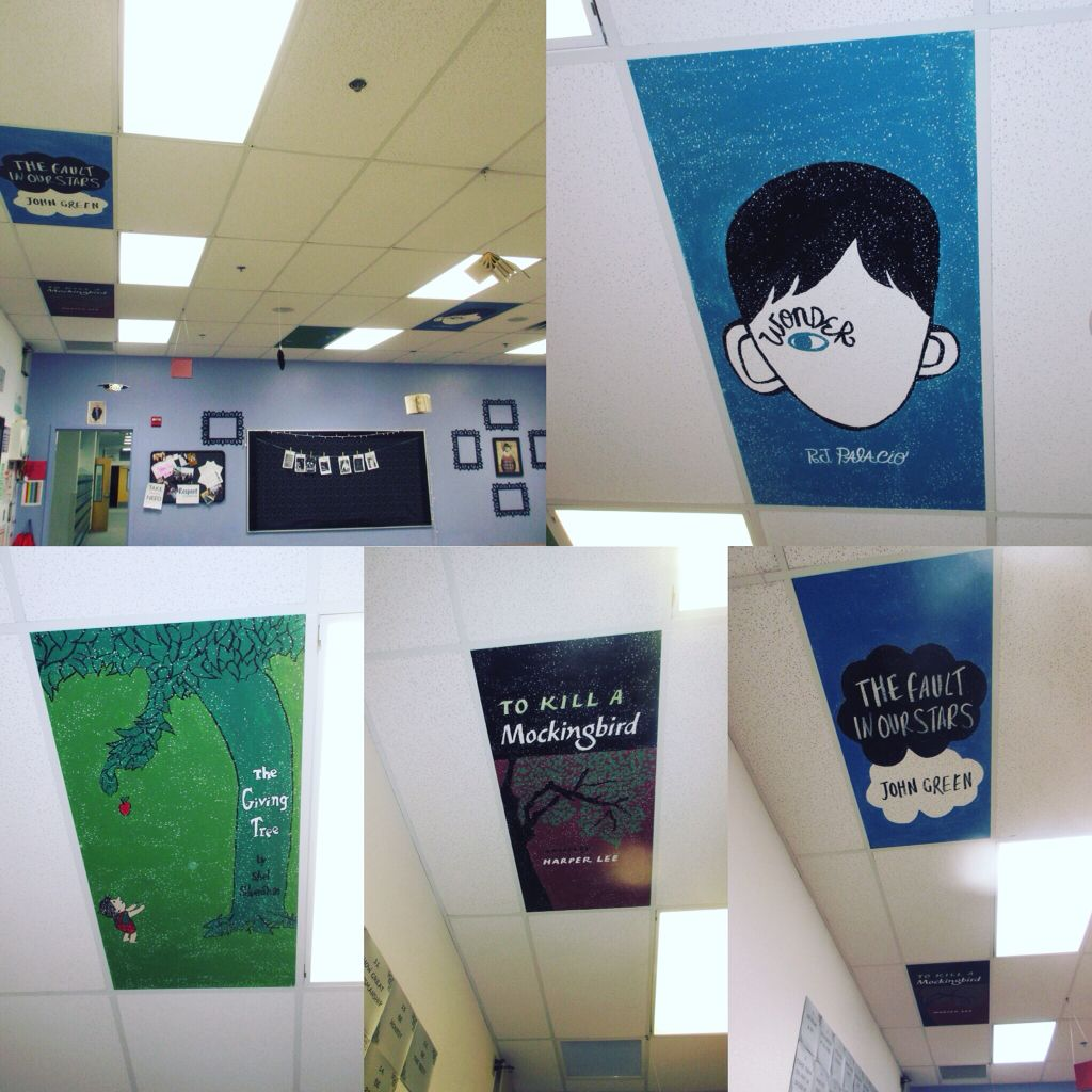 Painted Book Covers On My Classroom Ceiling Tiles Classroom Ceiling Ceiling Tiles Painted School Ceiling Tiles Art
