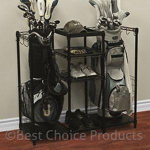 Golf Bag Rack With Shelving Garage Storage Sports Equipment Golf Shoe Rack  | EBay