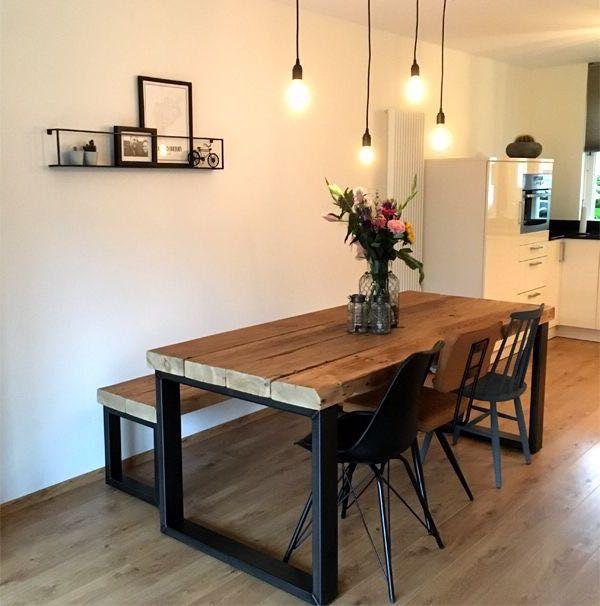 Eettafel en keuken, precies zo #farmhousediningroom