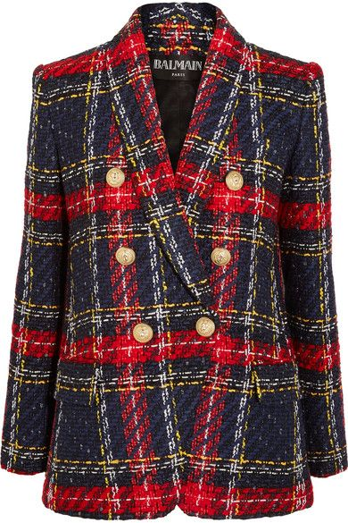 d5f24a11a75 Balmain - Tartan Tweed Blazer - Blue