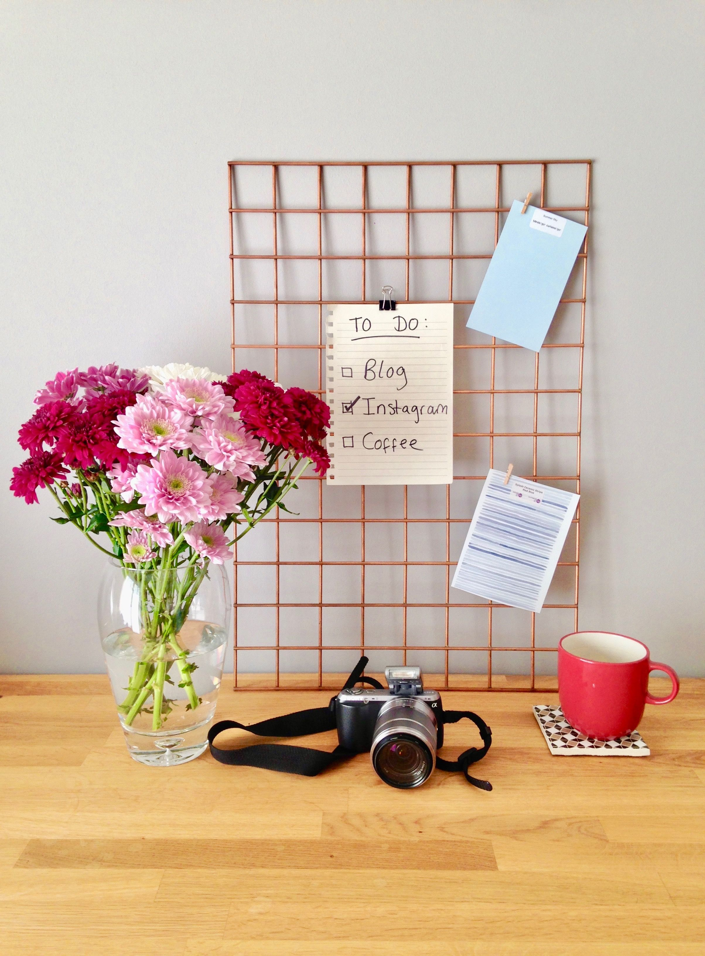 Copper Rose Gold Wire Grid Memo Mood Board Notice Memo Pinboard