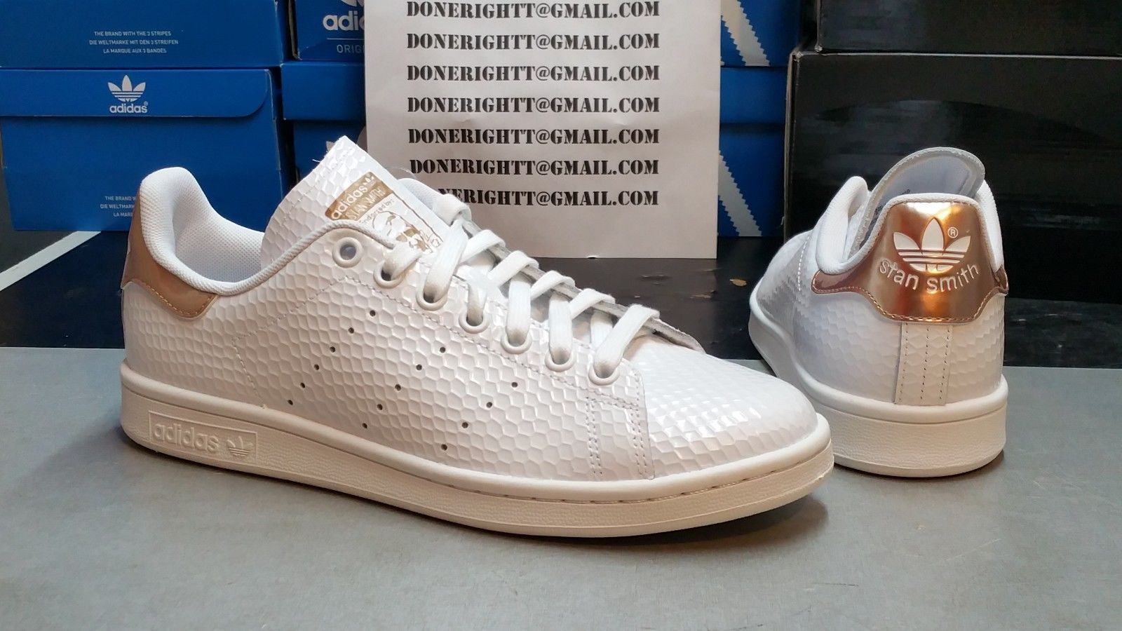 da20a083e23fe3 Womens Adidas Stan Smith Copper White Kettle Snakeskin Metallic Rose Gold  Yeezy | eBay Chaussure Tendance