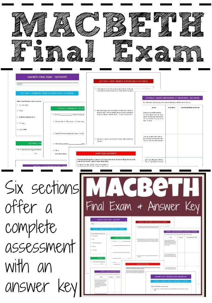Macbeth Test and Answer Key   High school literature ...
