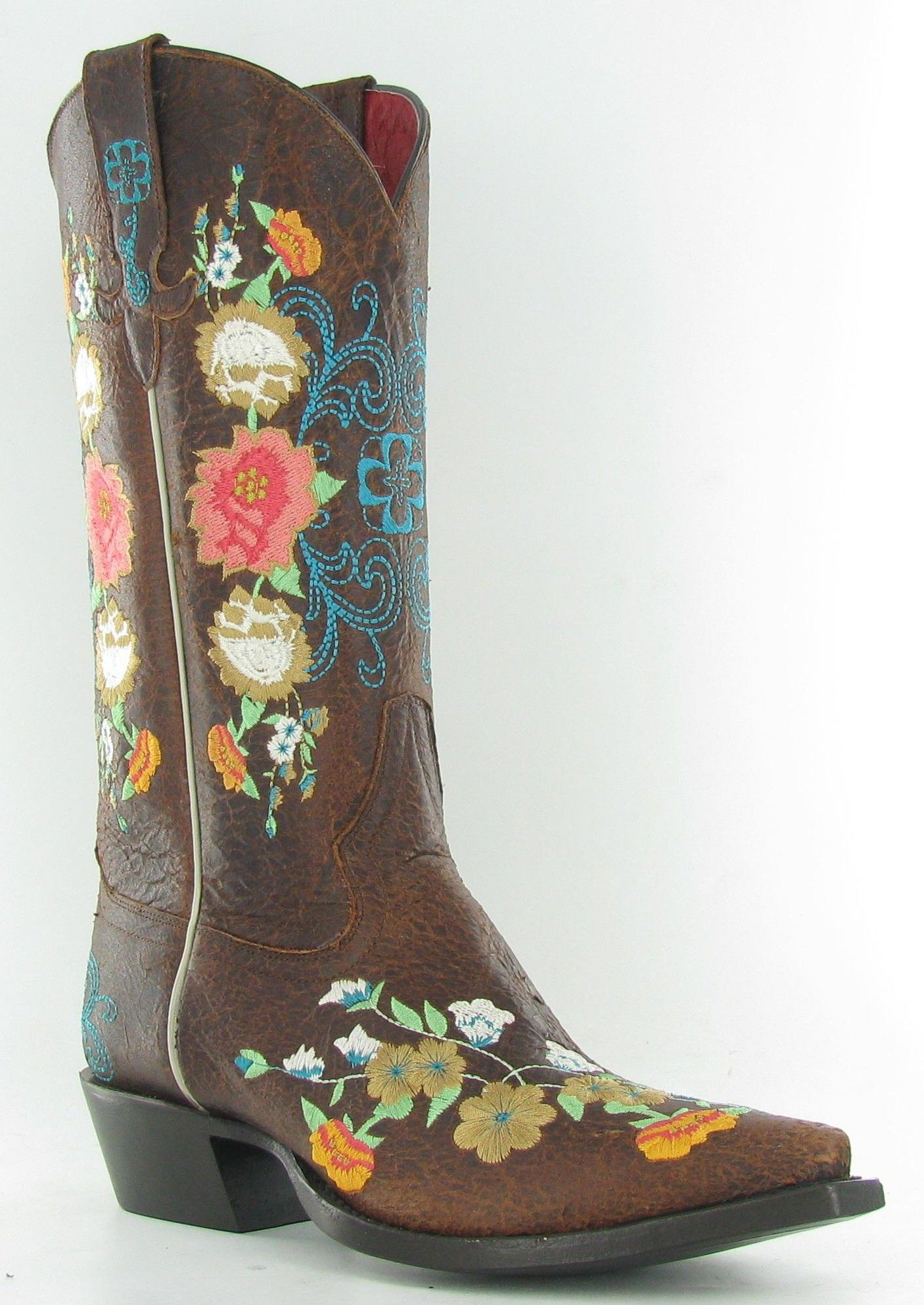 cowboy boots with flowers on them | ... Sweet Sixteen leather all ...