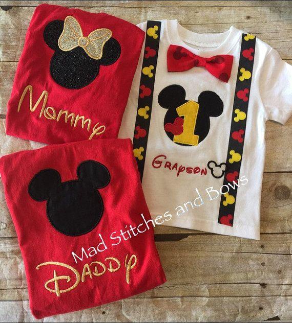 Bordadas camiseta de cumpleaños de Mickey Mouse con mamá y papá camisas  personalizadas fd0c8a36d5a1f