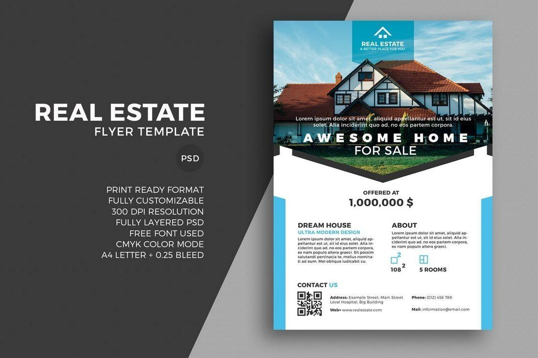 Real Estate Flyer Template 2 Per Page By Vertex42 Com Real Estate Flyers Real Estate Flyer Template Sale Flyer