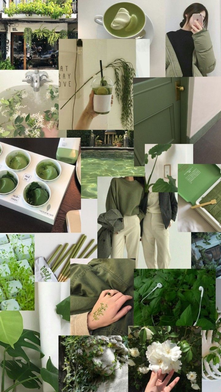 Minimalist Pastel Vintage Aesthetic Wallpaper Green