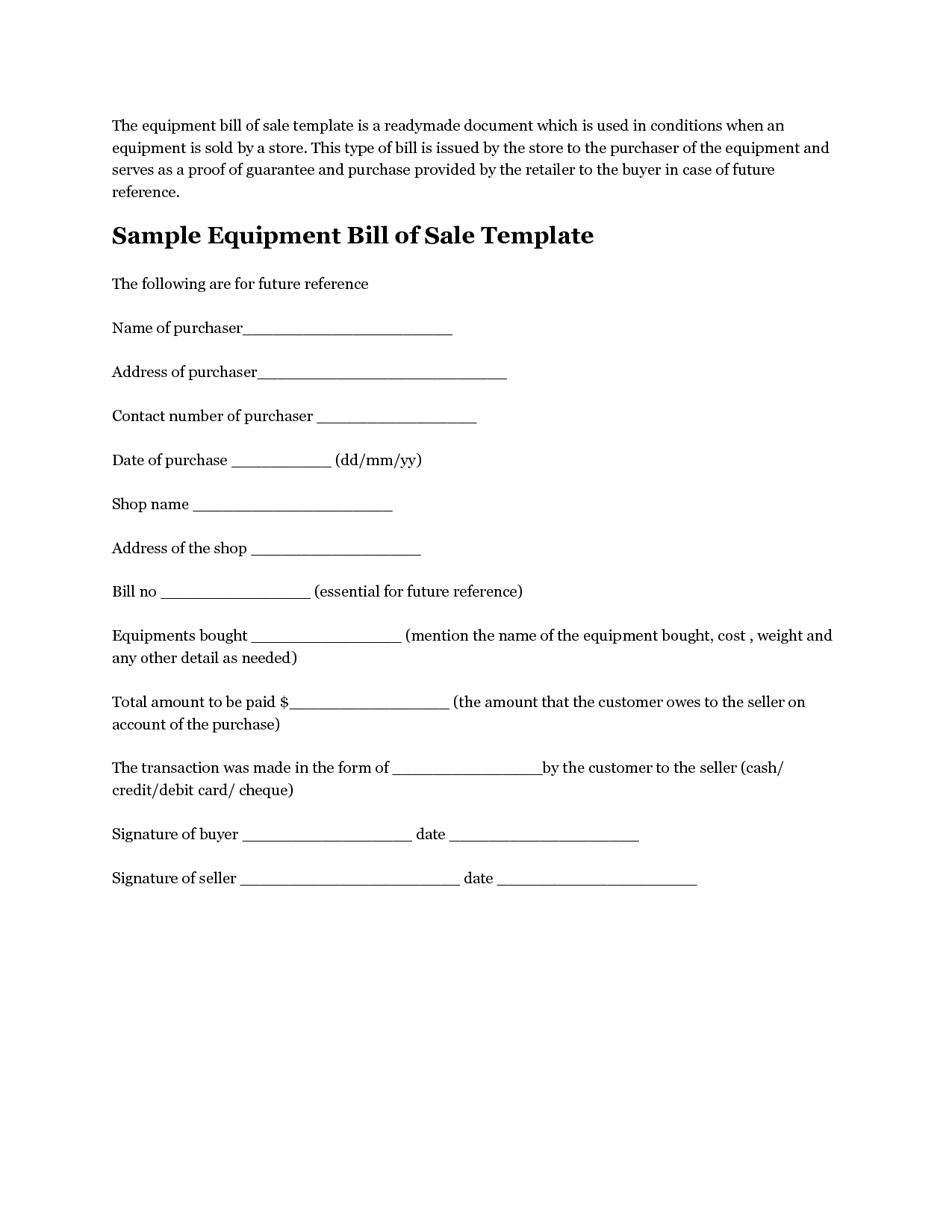 Printable Sample Equipment Bill Of Sale Template Form  Laywers