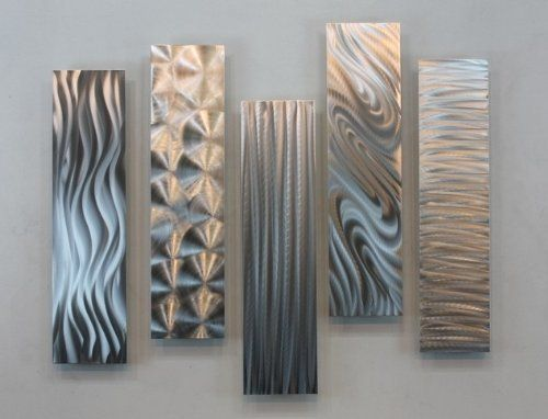 Silver rectangular metal wall accent multi panel etched wall art decor 5 - Decoration mural en metal ...
