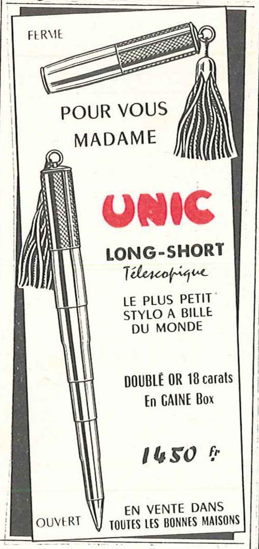 Unic long-short télescopique: le plus petit stylo à bille