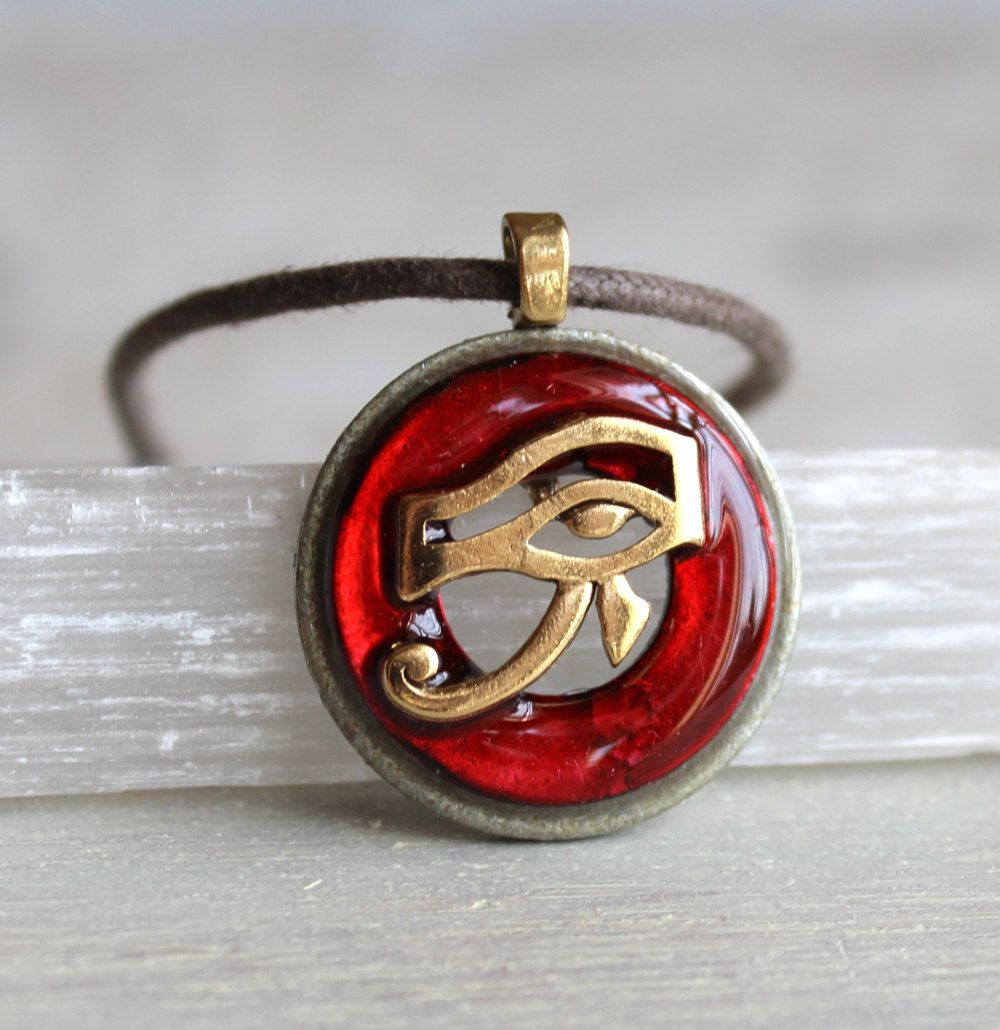 Red Eye Of Ra Necklace Mens Jewelry All Seeing Eye Mens Necklace