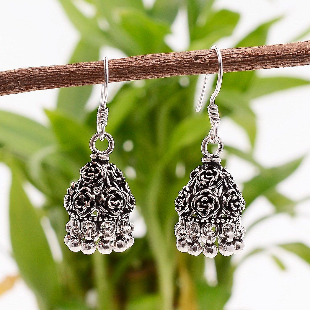 925 Solid Sterling Silver Oxidize Rose Flower Design Jhumka Earring Length 1 5 Inches Traditional Ea Traditional Earrings Fine Earrings Fine Silver Jewelry