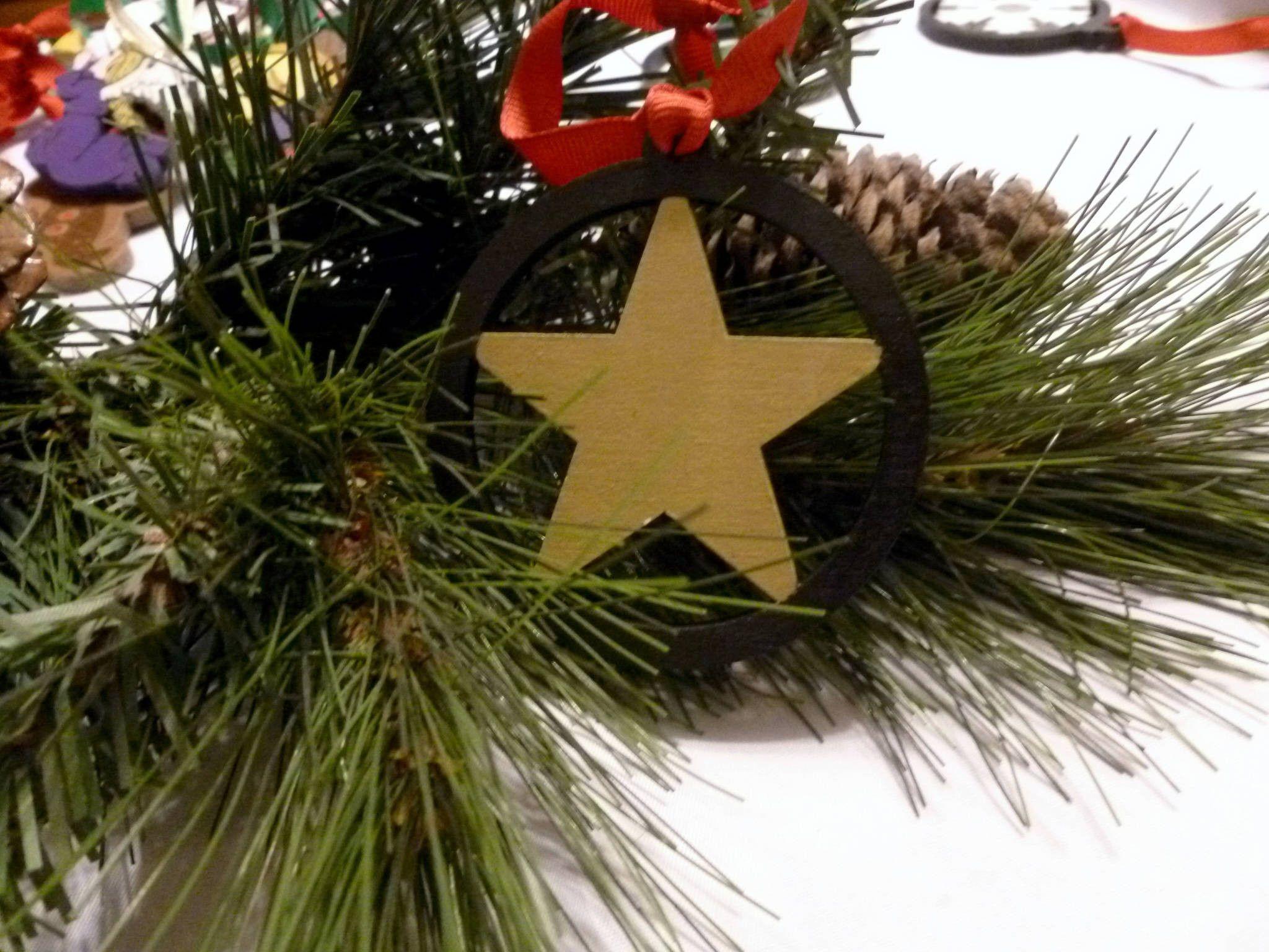 Handmade Christmas Tree Star Ornament Hand Painted Xmas Star Ornament