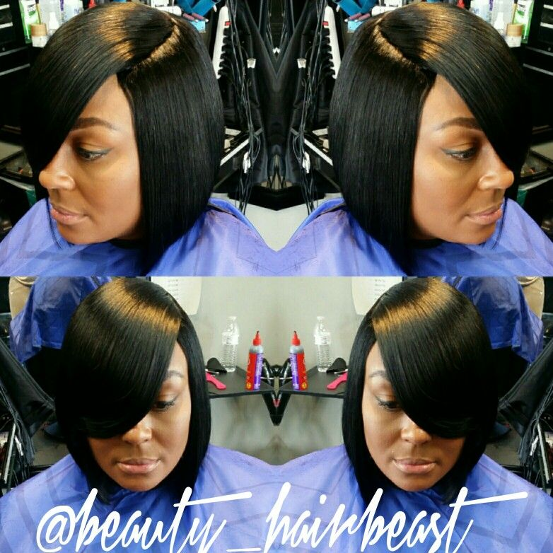 Quick Weave Bob With Bangs Quick Weave In 2019 Pinterest Quick