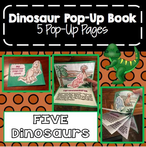 Dinosaur 5 Page Pop Up Book Booklet Learning Activities
