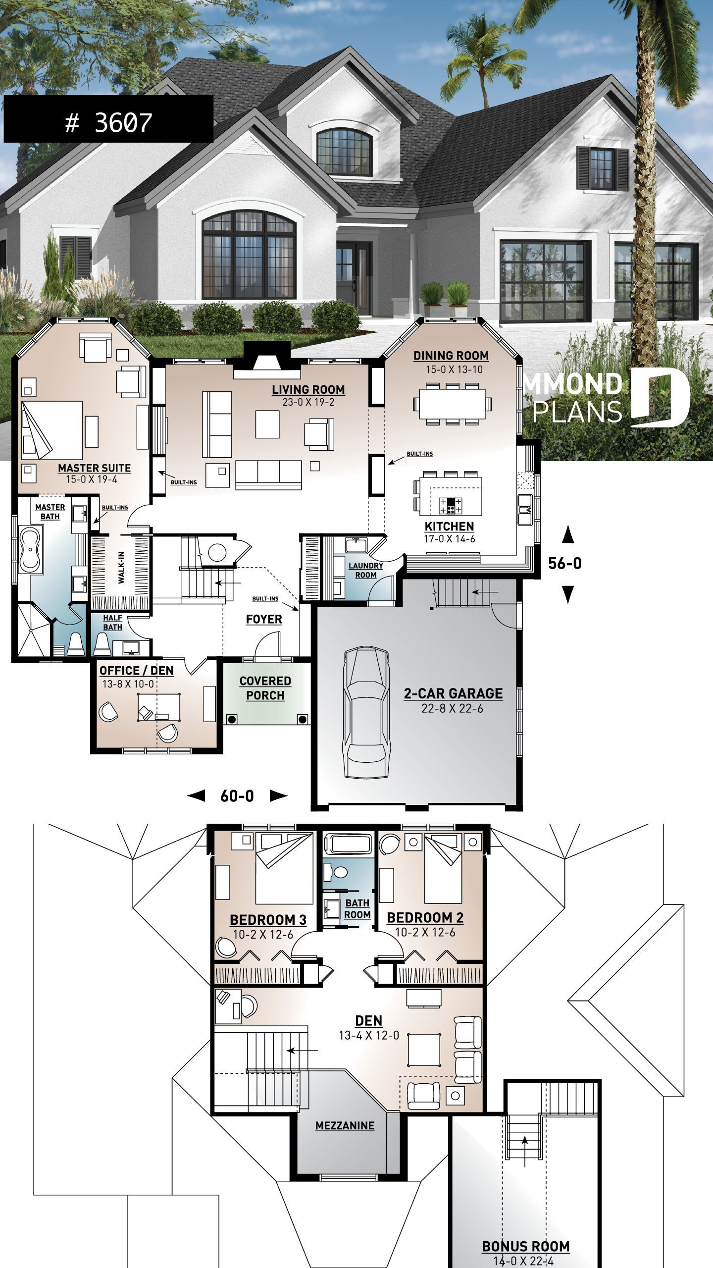 Florida Style Home Plan With Ensuite And 4 Bedrooms Bedrooms Ensuite Florida Home Plan Style In 2020 Sims House Plans House Blueprints Craftsman House Plans