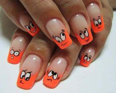 Orange-emoticons-nail-art | Nail creations | Pinterest | Nail art toes