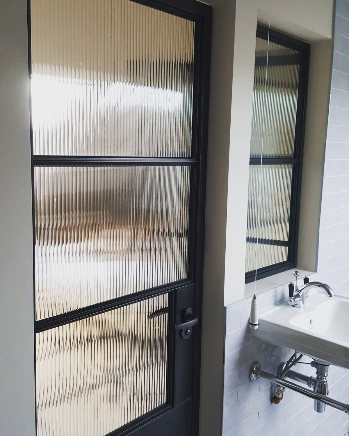 Reeded Glass With Steel Crittall Style Door Glass Bathroom Door Reeded Glass Elegant Bathroom