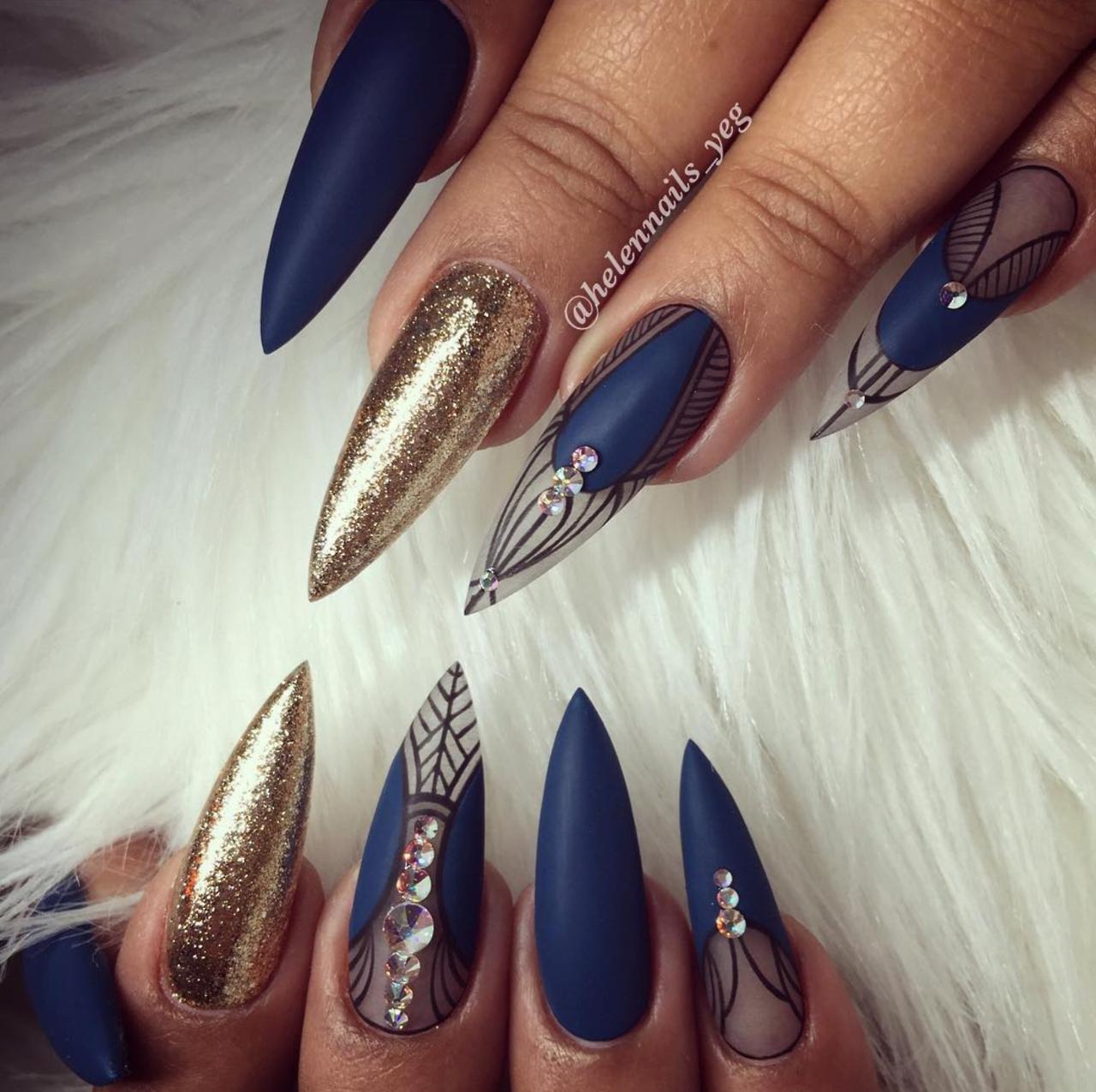Blue & Gold Nails, Nails, Nails | BEAUTY // NAILS #### 7 | Pinterest ...