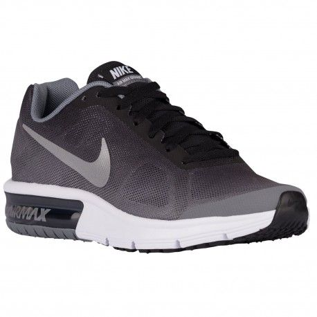 Nike Air Max Sequent Boys Grade School Black/Metallic Cool Grey/University Red/White Running Shoes