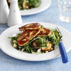 Giant Couscous, Courgette and Rocket with Halloumi