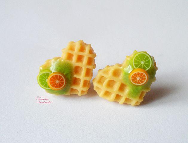 Oorbellen studs wafels met citroen van Vivi4n ~handmade ~ op DaWanda.com