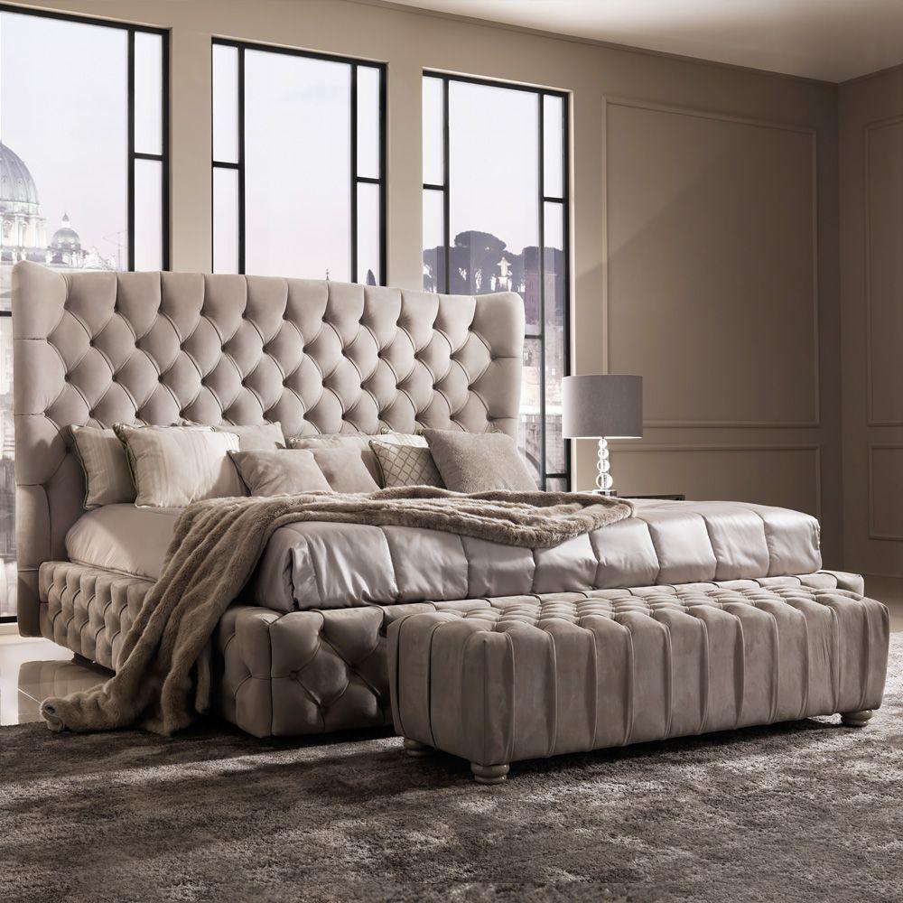 Italian Designer Nubuck Button Upholstered Low Bench