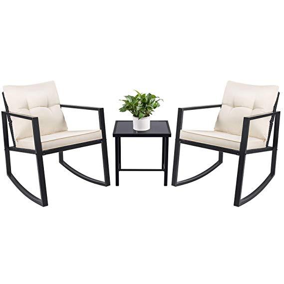 Terrific Amazon Com Devoko 3 Piece Bistro Sets Wicker Patio Outdoor Ibusinesslaw Wood Chair Design Ideas Ibusinesslaworg