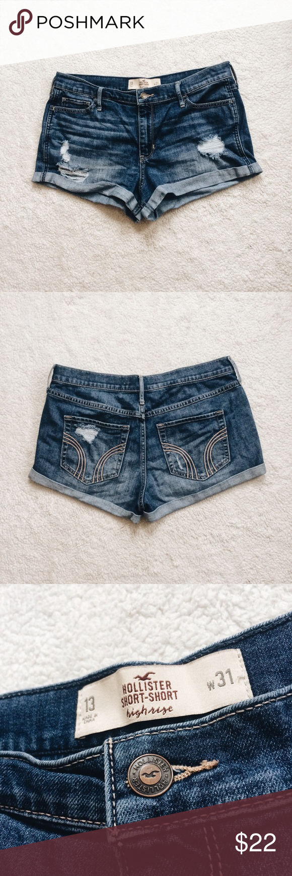 Distressed High-Rise Short Shorts -Good Condition- Hollister